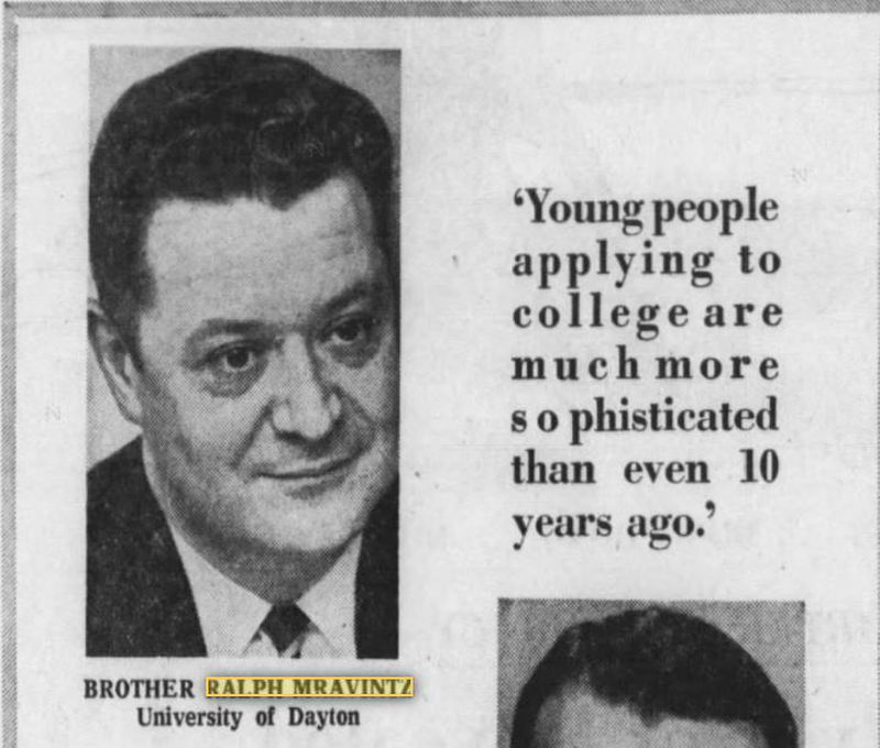 This photo and quote from Bro. Ralph Mravintz is from the Nov. 29, 1970 Dayton Daily News.