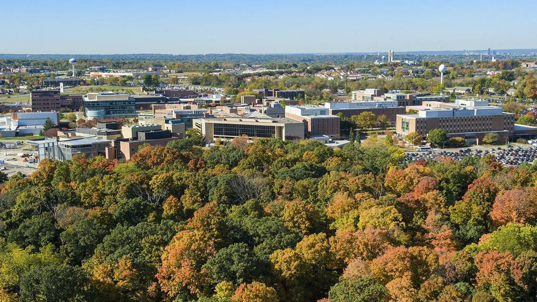 Aerial shot of Wright State University's Fairborn campus. FILE