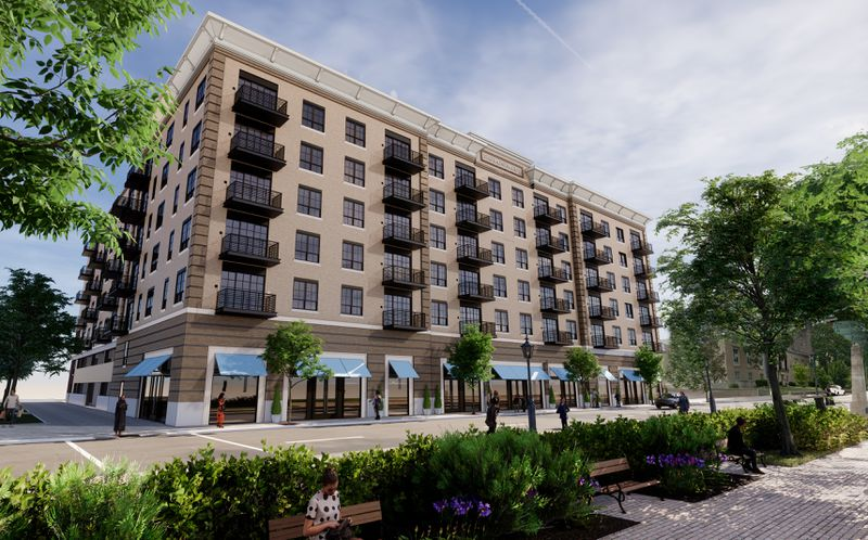 Rendering of the Monument, a new apartment building planned for downtown Dayton, near RiverScape MetroPark. CONTRIBUTED
