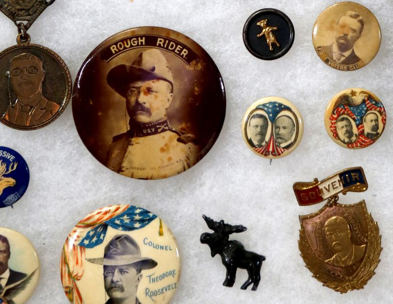 Campaign buttons featuring Teddy Roosevelt from various campaigns are part of a collection of presidential memorabilia owned by Steve Davis of Dayton. LISA POWELL / STAFF