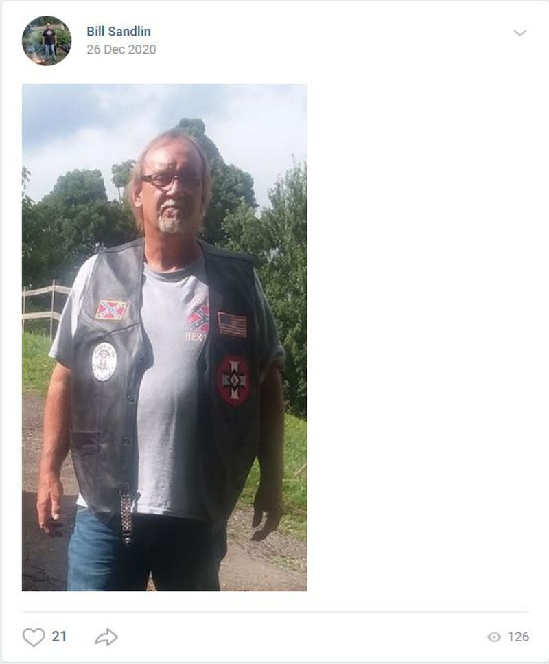 Photo of Bill Sandlin, imperial wizard of the KKK-affiliated White Christian Brotherhood, posted on a social media account.