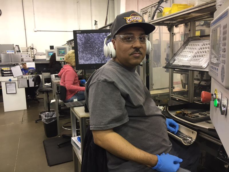 A worker at Norwood Medical, which has more than 1,000 employees on its Dayton campus. THOMAS GNAU/STAFF
