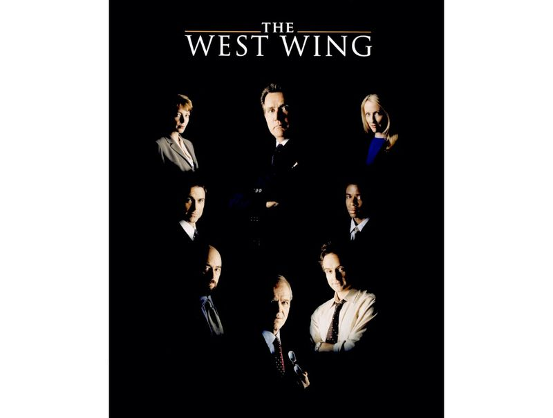 "This poster was used to promote the NBC television drama <i>The West Wing</i>. The poster features a large photograph of Martin Sheen as President Josiah ""Jed"" Bartlet surrounded by the main cast, including, from the top left and continuing counter-clockwise, C.J. Cregg (Allison Janney), Sam Seaborn (Rob Lowe), Toby Ziegler (Richard Schiff), Leo McGarry (John Spencer), Josh Lyman (Bradley Whitford), Charlie Young (Dulé Hill), and Donna Moss (Janel Moloney). Source: National Museum of American History"