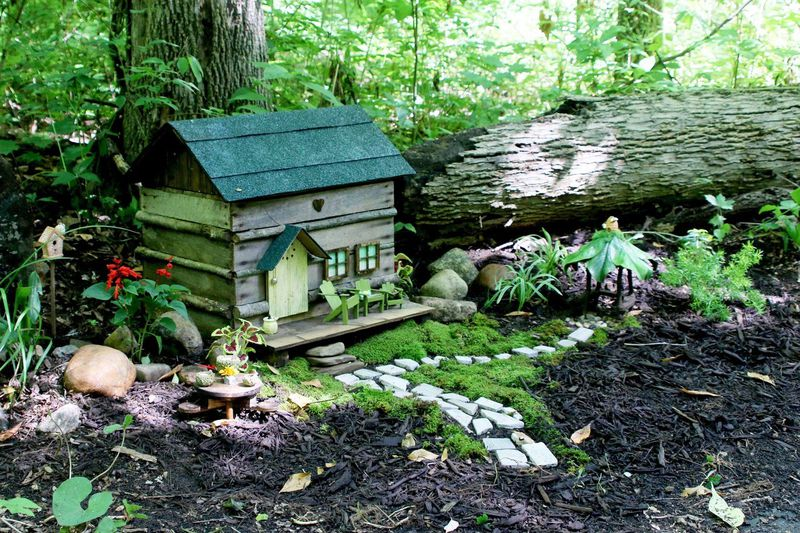 These miniature dwellings along the trail at the Aullwood Nature Center have a fairy tale theme. CONTRIBUTED/DAVID ANDERSON